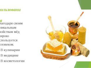 Использование меда Благодаря своим уникальным свойствам мёд широко использует