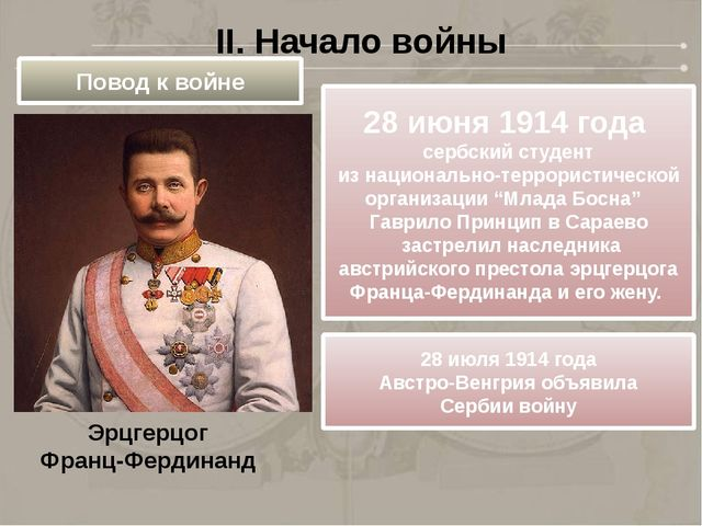 Эрцгерцог Франц-Фердинанд II. Начало войны Повод к войне 28 июня 1914 года се...