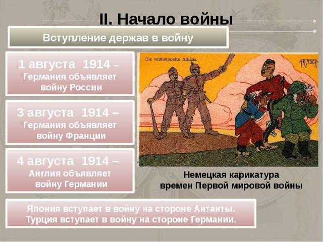 Немецкая карикатура времен Первой мировой войны II. Начало войны Вступление д...