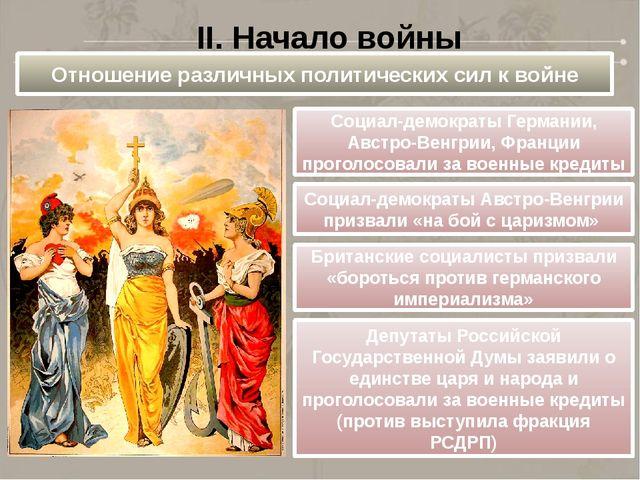 II. Начало войны Отношение различных политических сил к войне Социал-демократ...