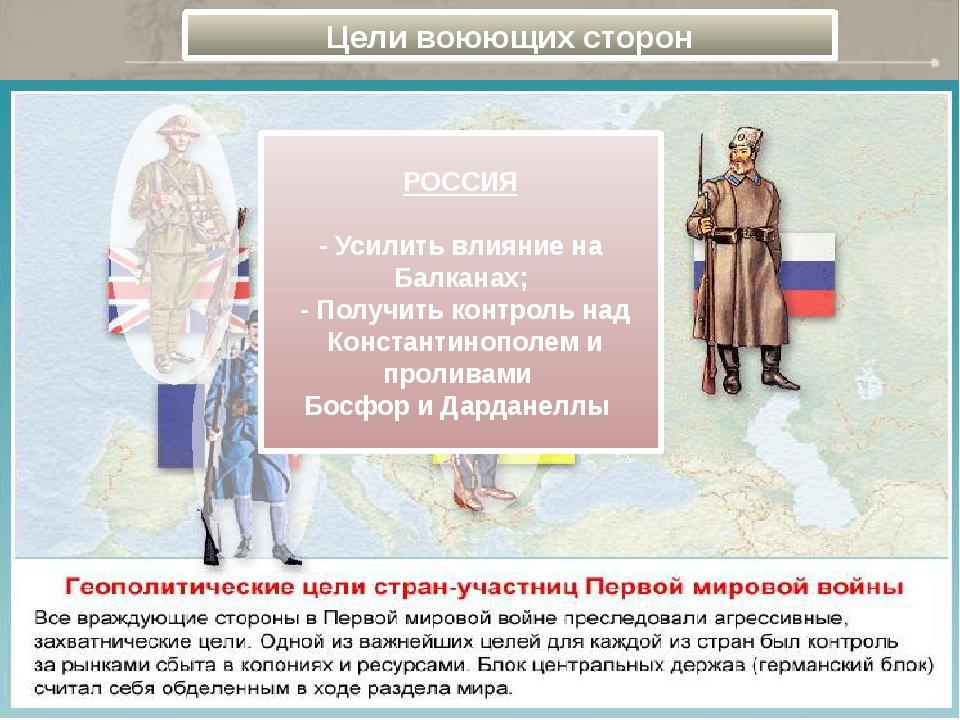 Цели воюющих сторон РОССИЯ  - Усилить влияние на Балканах; - Получить контр...