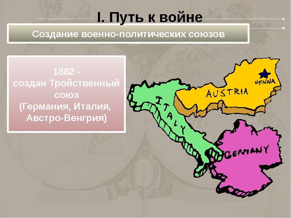 Создание военно-политических союзов 1882 - создан Тройственный союз (Германия...
