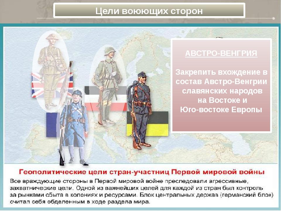 Цели воюющих сторон АВСТРО-ВЕНГРИЯ  Закрепить вхождение в состав Австро-Вен...
