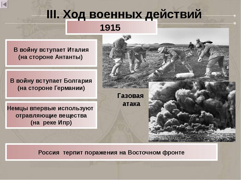 Газовая атака В войну вступает Италия (на стороне Антанты) В войну вступает Б...