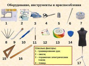 Опасные факторы: 1 - травмирование рук; 2 – ожоги; 3 – поражение электрически