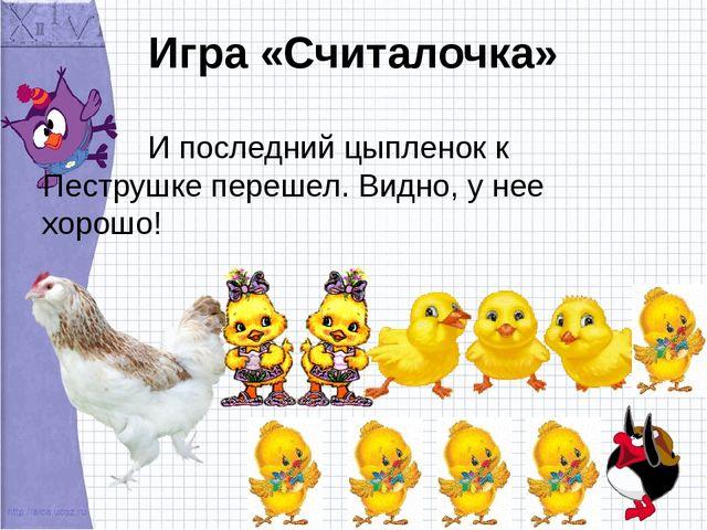 Игра «Считалочка» И последний цыпленок к Пеструшке перешел. Видно, у нее хоро...