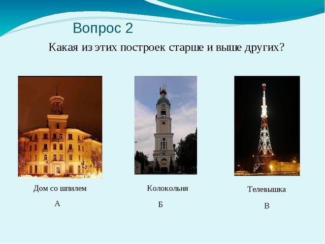 Вопрос 2 Какая из этих построек старше и выше других? А Б В Дом со шпилем Ко...