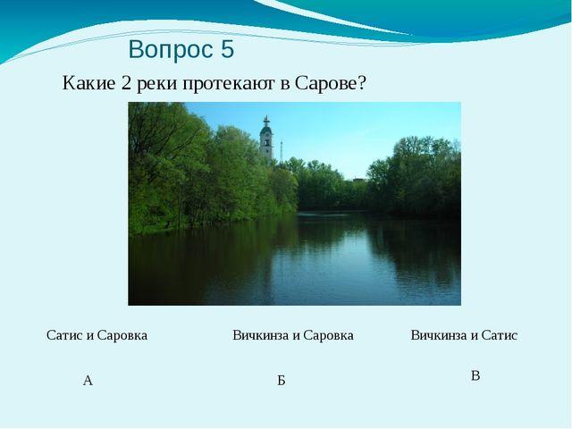 Вопрос 5 Какие 2 реки протекают в Сарове? А Б В Сатис и Саровка Вичкинза и С...