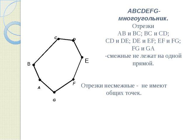A C F G B ABCDEFG-многоугольник. Отрезки AB и BC; BC и CD; CD и DE; DE и EF;...