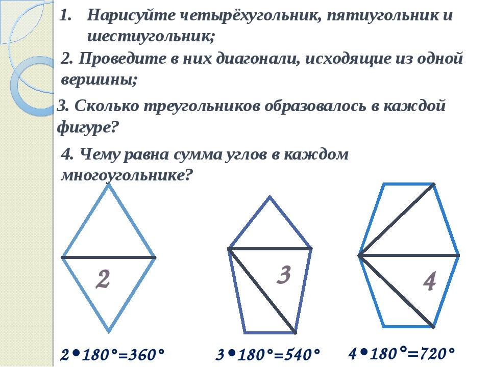 Нарисуйте четырёхугольник, пятиугольник и шестиугольник; 2. Проведите в них д...