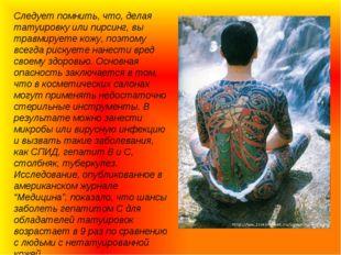 Следует помнить, что, делая татуировку или пирсинг, вы травмируете кожу, поэт