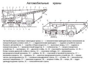 Автомобильные краны Автомобильные стреловые самоходные краны: а — с механичес