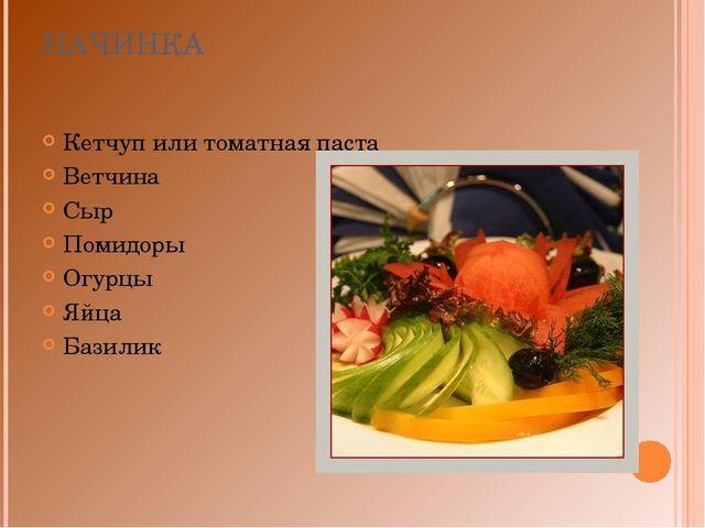 НАЧИНКА Кетчуп или томатная паста Ветчина Сыр Помидоры Огурцы Яйца Базилик