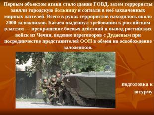 Первым объектом атаки стало здание ГОВД, затем террористы заняли городскую бо