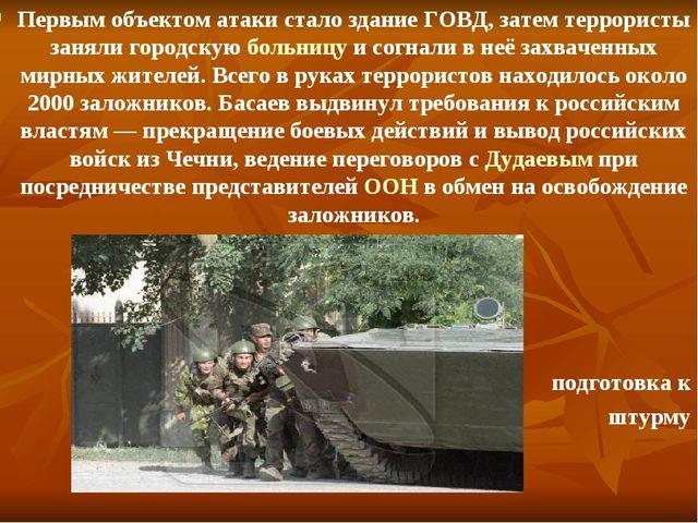 Первым объектом атаки стало здание ГОВД, затем террористы заняли городскую бо...