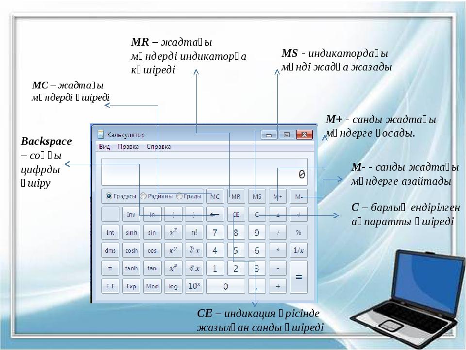 МС – жадтағы мәндерді өшіреді MR – жадтағы мәндерді индикаторға көшіреді MS -...