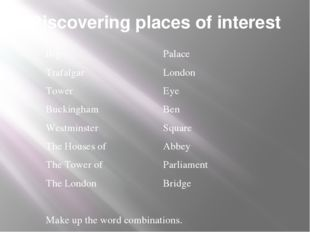 Discovering places of interest Big Trafalgar Tower Buckingham Westminster The
