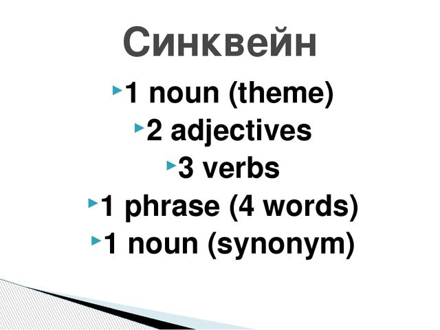 1 noun (theme) 2 adjectives 3 verbs 1 phrase (4 words) 1 noun (synonym) Cинкв...