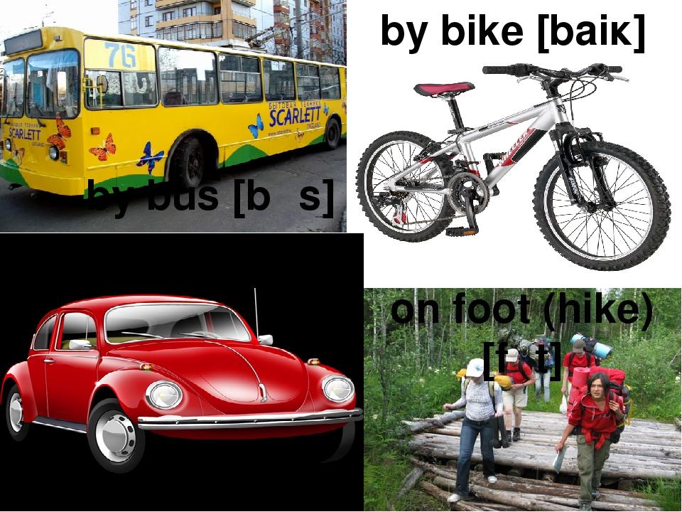 by bike [baiĸ] by car [ĸa:] by bus [bᴧs] on foot (hike) [fᴜt]