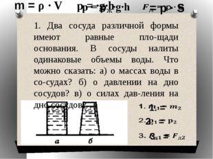 1. Два сосуда различной формы имеют равные площади основания. В сосуды налит