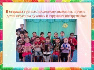 В старших группах продолжаю знакомить и учить детей играть на духовых и струн