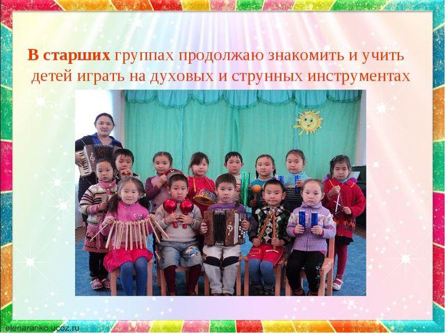 В старших группах продолжаю знакомить и учить детей играть на духовых и струн...