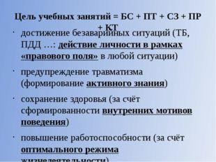 Цель учебных занятий = БС + ПТ + СЗ + ПР + КТ  достижение безаварийных ситуа