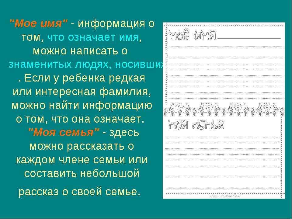 """""""Мое имя"""" - информация о том, что означает имя, можно написать о знаменитых л..."""