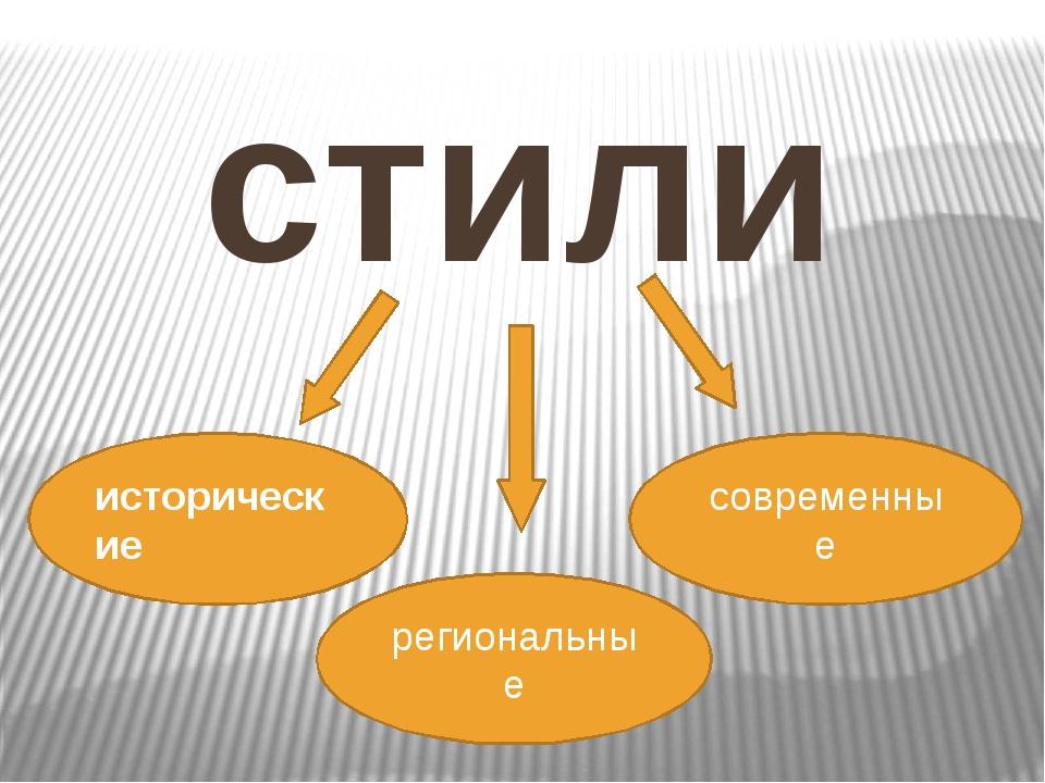 стили исторические региональные современные