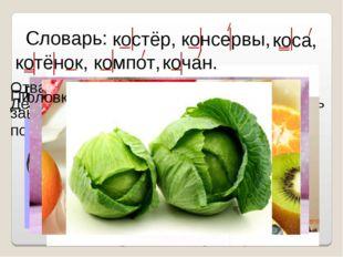 Словарь: Горящая куча хвороста. костёр, Пищевые продукты, помещённые в закры