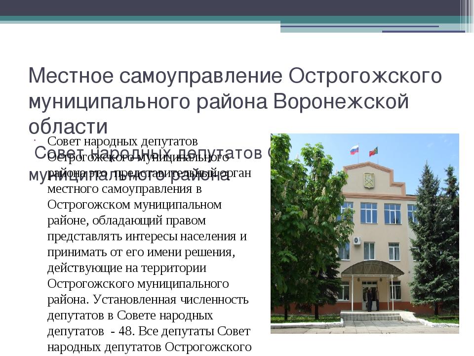 Местное самоуправление Острогожского муниципального района Воронежской област...