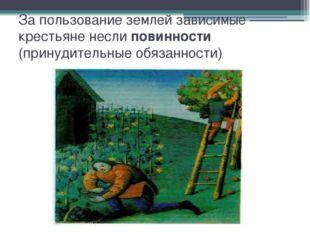 За пользование землей зависимые крестьяне несли повинности (принудительные об