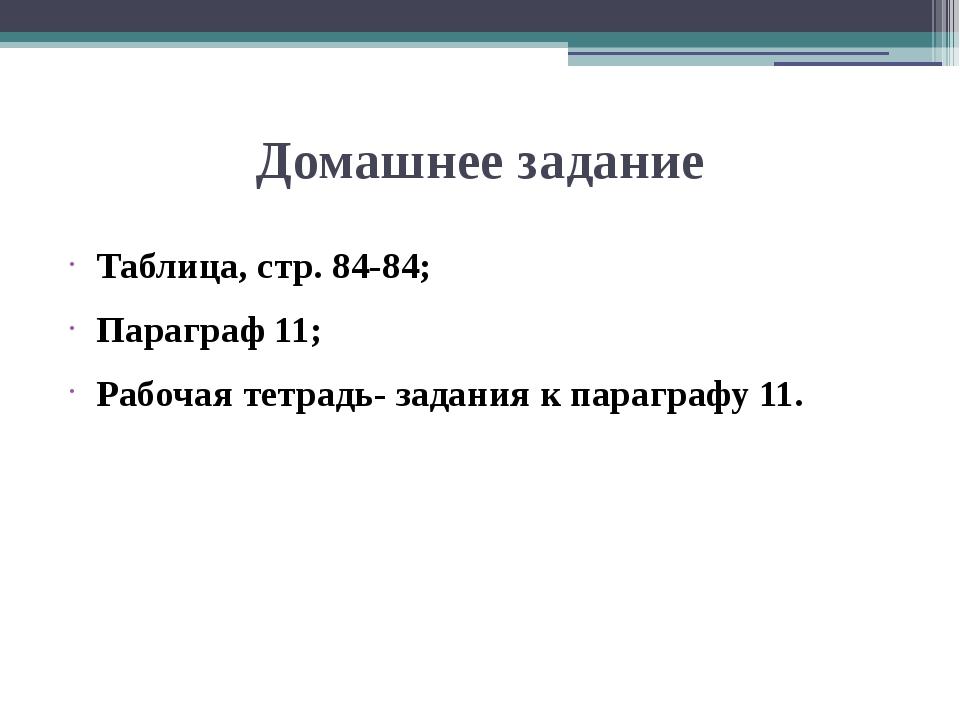 Домашнее задание Таблица, стр. 84-84; Параграф 11; Рабочая тетрадь- задания к...