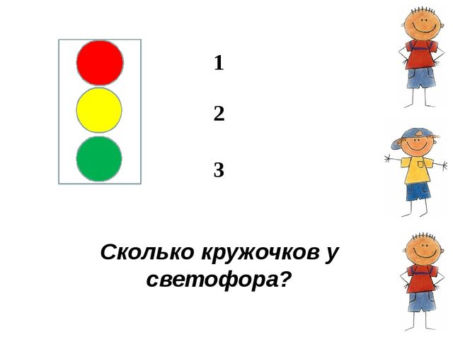 Сколько кружочков у светофора? 1 2 3