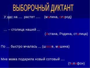 У нас на … растет …. (малина, огород) … – столица нашей ... (Астана, Родина,