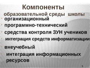 Компоненты образовательной среды школы организационный программно-технический