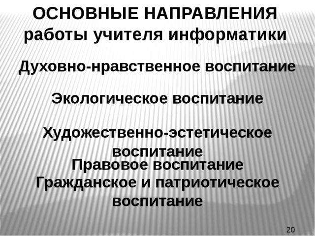 ОСНОВНЫЕ НАПРАВЛЕНИЯ работы учителя информатики Духовно-нравственное воспитан...
