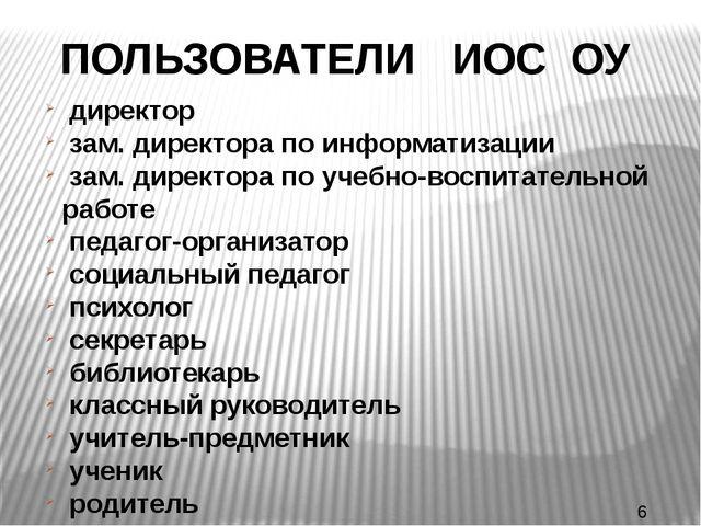ПОЛЬЗОВАТЕЛИ ИОС ОУ директор зам. директора по информатизации зам. директора...