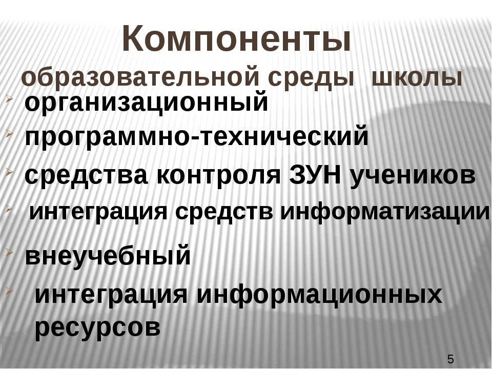 Компоненты образовательной среды школы организационный программно-технический...