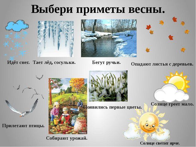 Выбери приметы весны. Идёт снег. Тает лёд, сосульки. Бегут ручьи. Опадают лис...