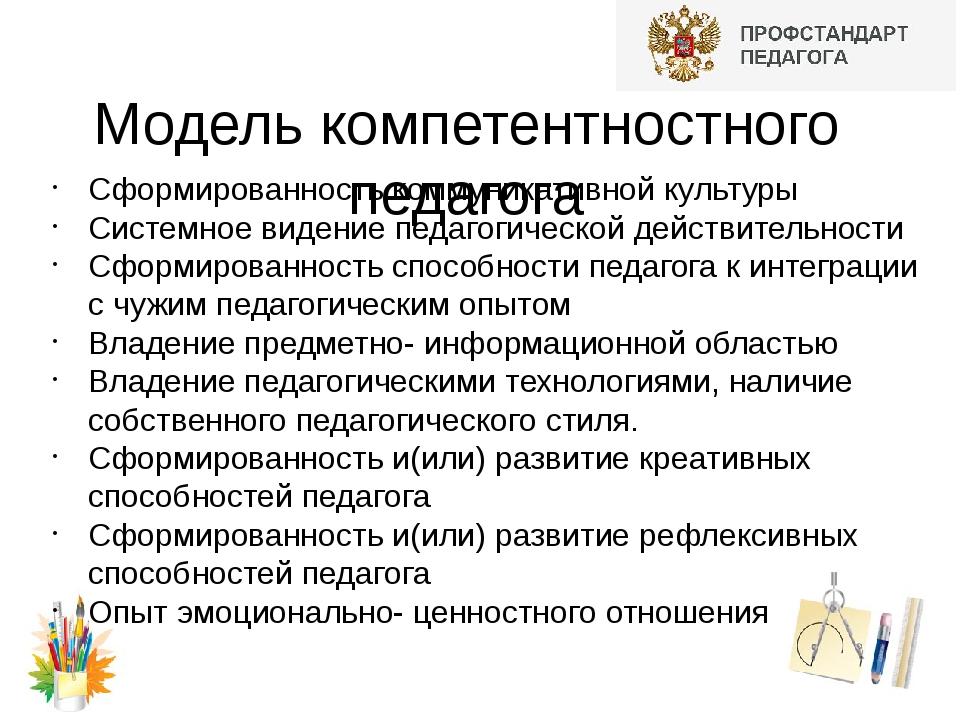 Модель компетентностного педагога Сформированность коммуникативной культуры С...