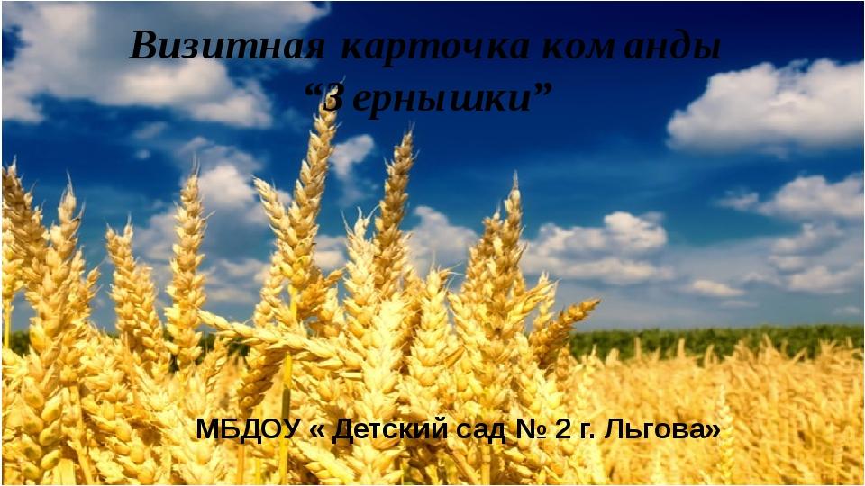 """Визитная карточка команды """"Зернышки"""" МБДОУ « Детский сад № 2 г. Льгова»"""