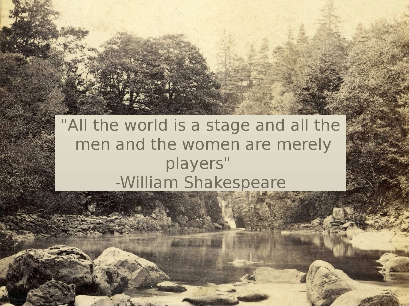 """""""All the world is a stage and all the men and the women are merely players"""" -..."""