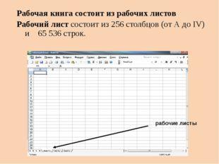 Рабочая книга состоит из рабочих листов Рабочий лист состоит из 256 столбцов