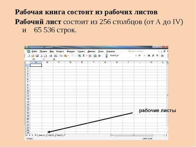 Рабочая книга состоит из рабочих листов Рабочий лист состоит из 256 столбцов...