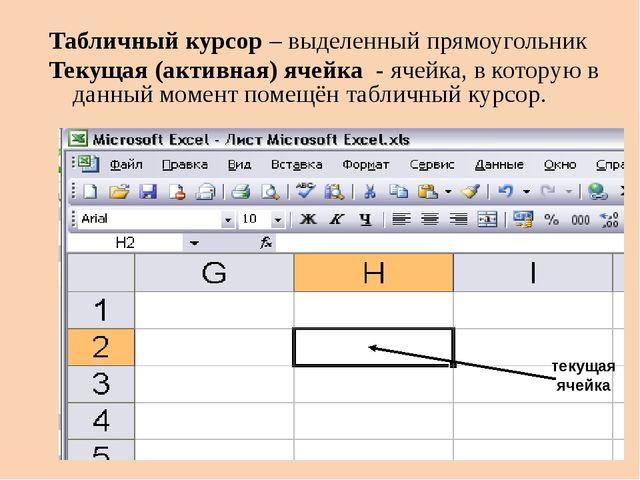 Табличный курсор – выделенный прямоугольник Текущая (активная) ячейка - ячейк...