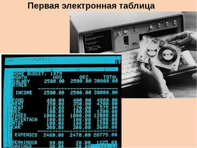 Первая электронная таблица