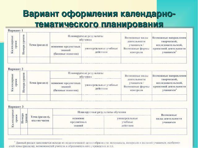 Вариант оформления календарно-тематического планирования