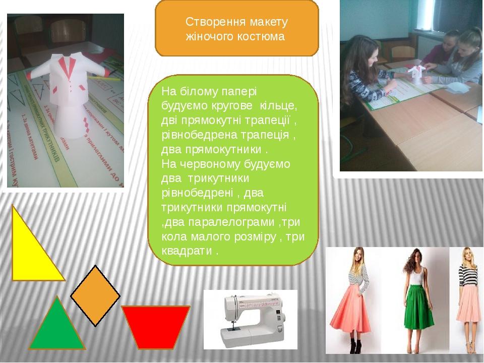 Створення макету жіночого костюма На білому папері будуємо кругове кільце, д...