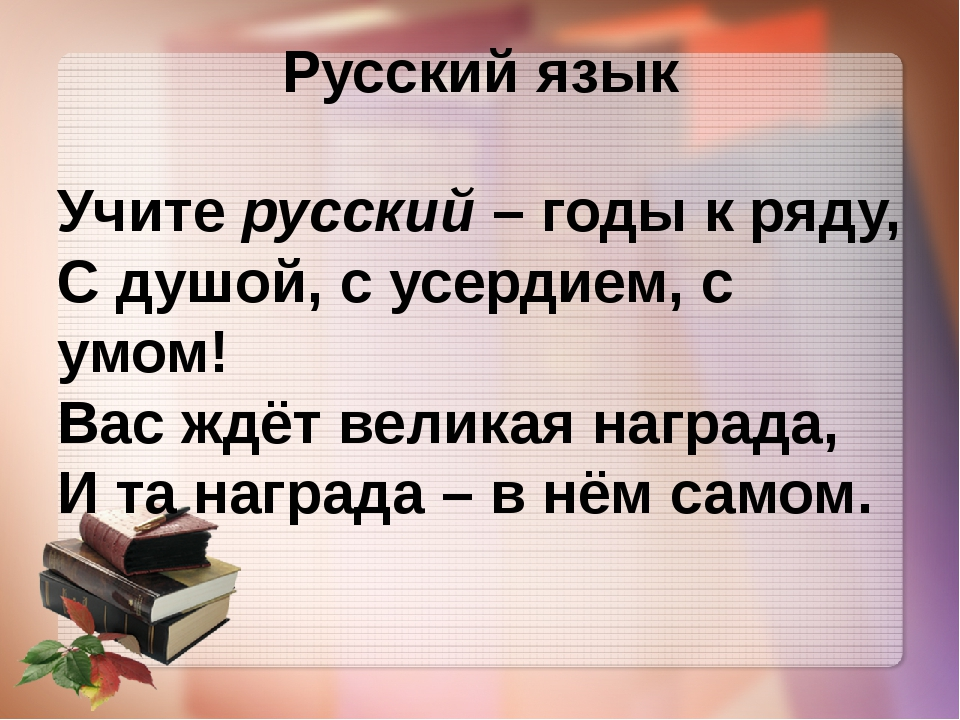 Русский язык Учите русский – годы к ряду, С душой, с усердием, с умом! Вас жд...